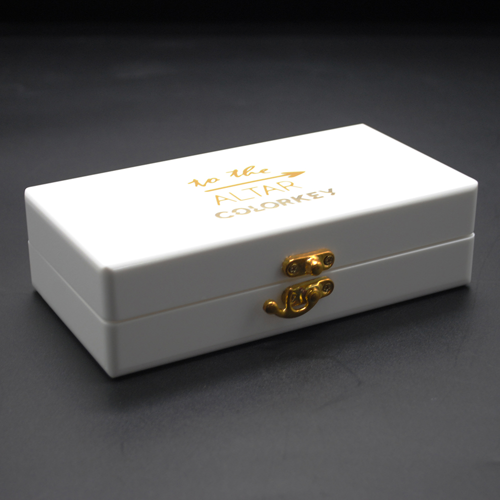 White acrylic box with lock