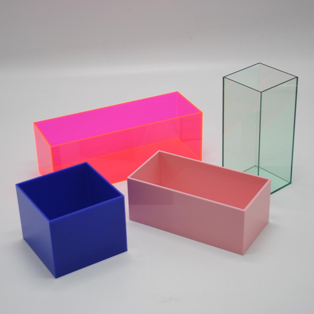 Colored acrylic cube display stand square acrylic box