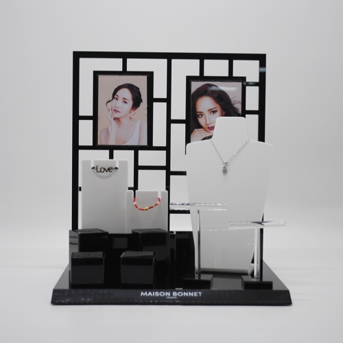 Black acrylic jewelry display stand