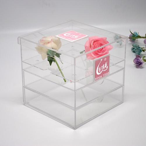 Luxury Square Clear Acrylic Flower Rose Boxes With Drawer