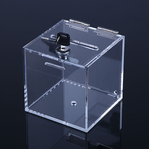 Clear Acrylic Display/Donation/NameCard Box with Lock