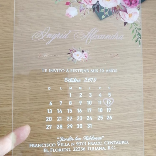 wedding invitation card with personalized printed calendar